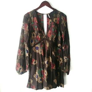 Free People Strawberry Fields Floral Dress Brown S